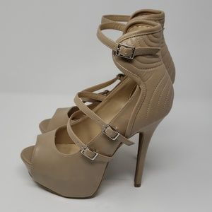Khaki High Heel Pumps